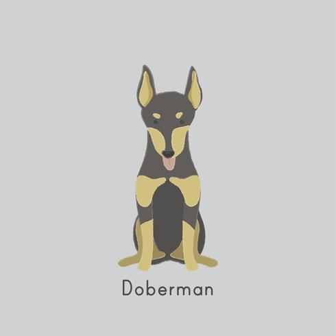 Gullig illustration av en dobermanhund