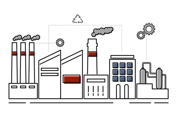 Illustration av en industriell stad