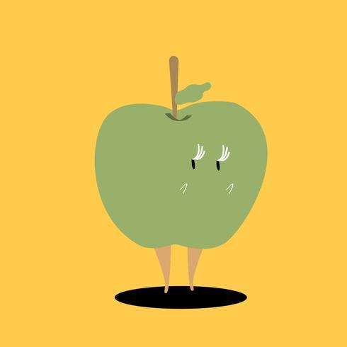 Färsk grön äppletecknad tecken vektor