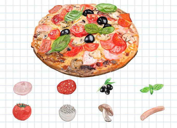 Hand gezeichnete italienische Pizza-Aquarellart