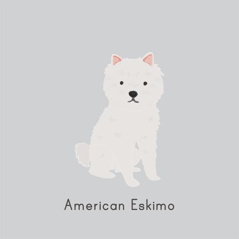 Ilustração bonito de um cão eskimo americano