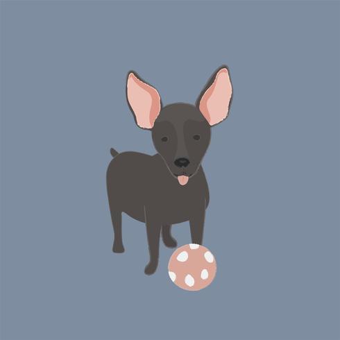 Gullig illustration av en mini pinscherhund