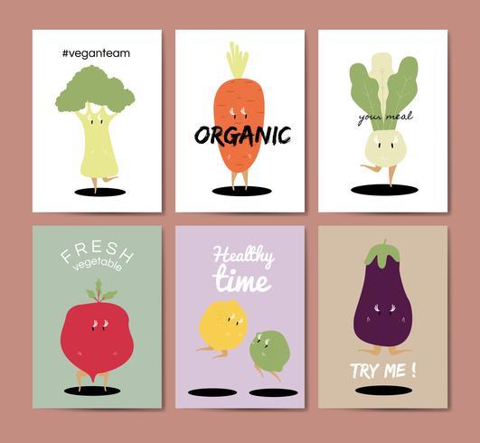 Vegetabiliska teckningar hälsningskort vektor uppsättning