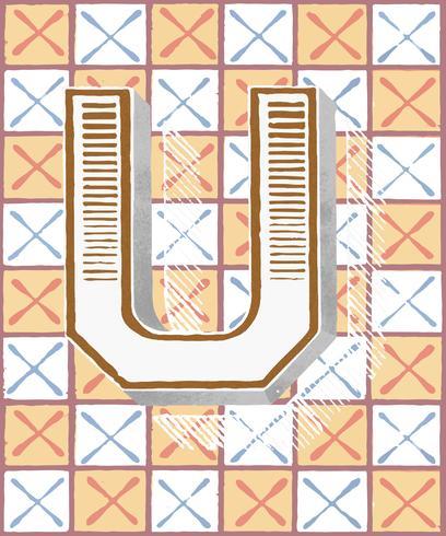 Letra mayúscula U tipografía vintage.