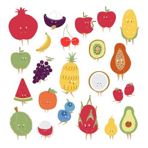 Conjunto de vetores de personagens de desenhos animados de frutas tropicais
