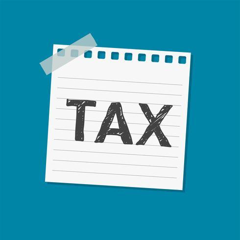 Aviso de impuestos nota adhesiva ilustración