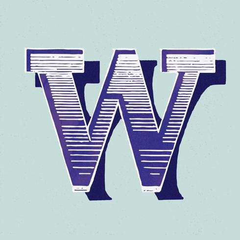 Weinlese-Typografieart des Großbuchstaben W