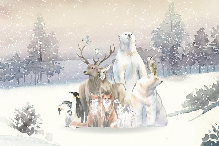 Gruppe wilde Tiere im Schnee gezeichnet in Aquarell
