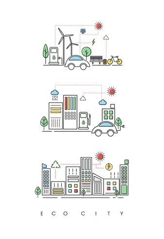 Ensemble d'illustrations d'une ville écologique