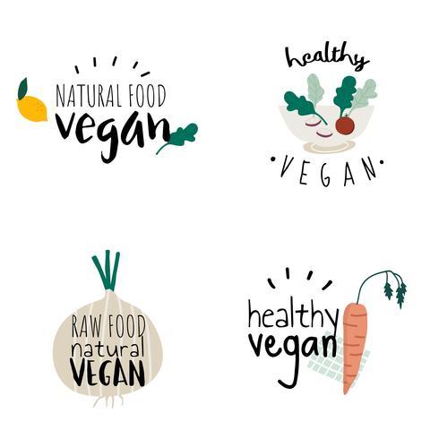 Set van gezonde veganistisch logo vectoren