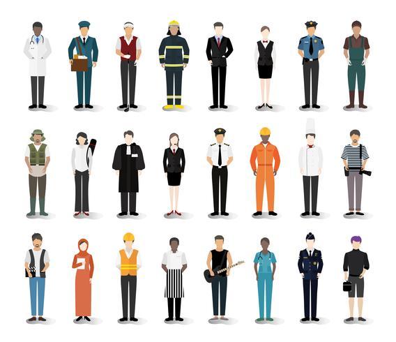Illustration vecteur de diverses carrières et professions
