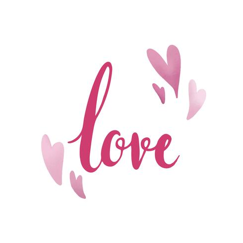 Tipografia de amor decorada com vetor de corações