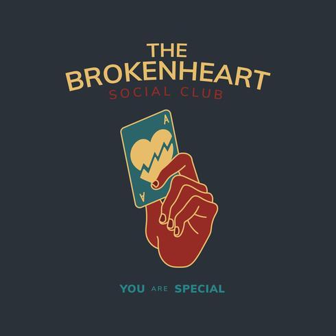 Vintage badge with text the broken heart design vector