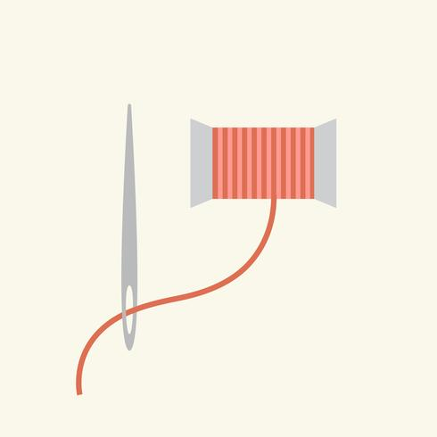 Simple illustration of a needle and a thread