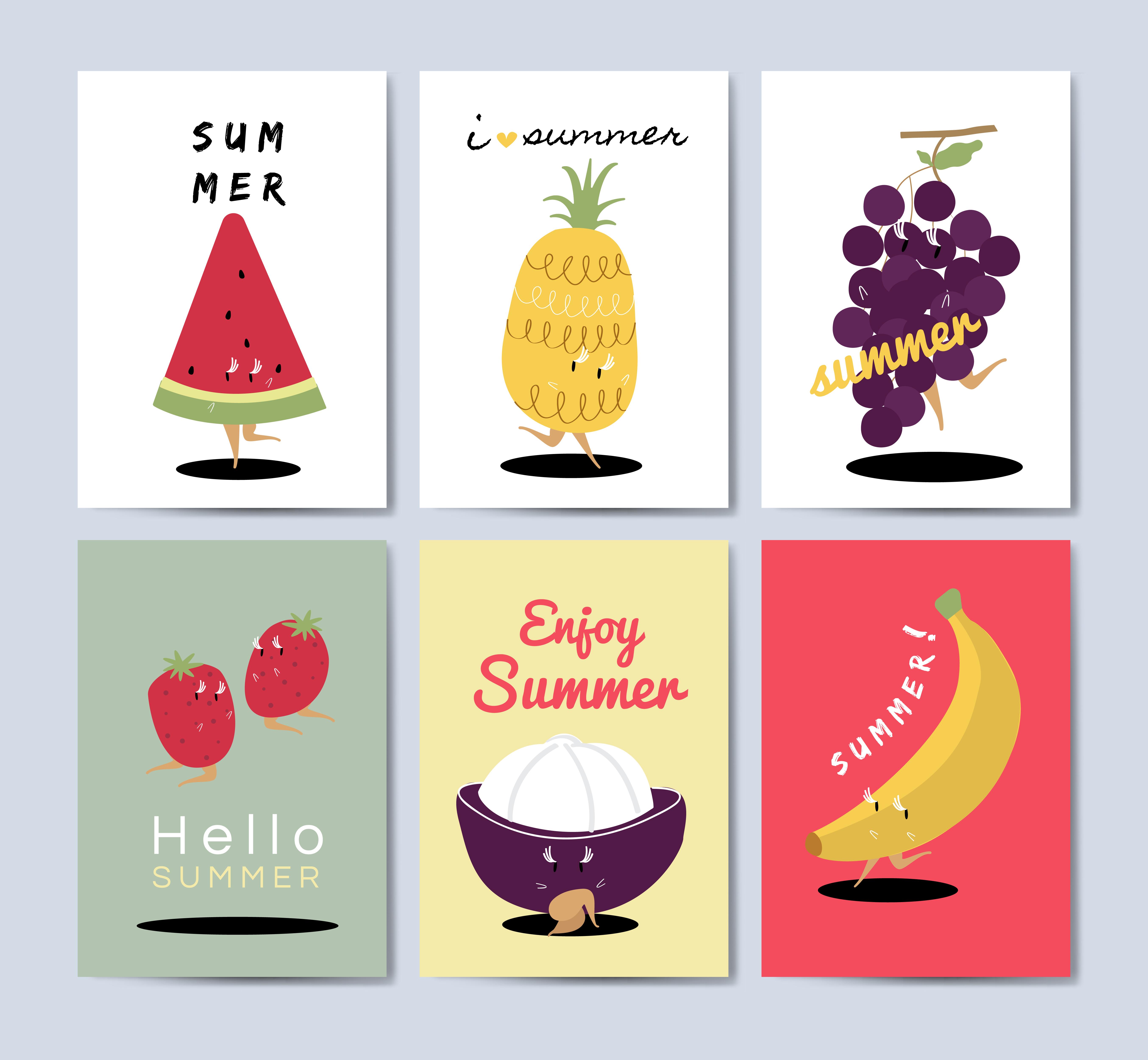Tropical Fruit Cartoons Greeting Card Vector Set