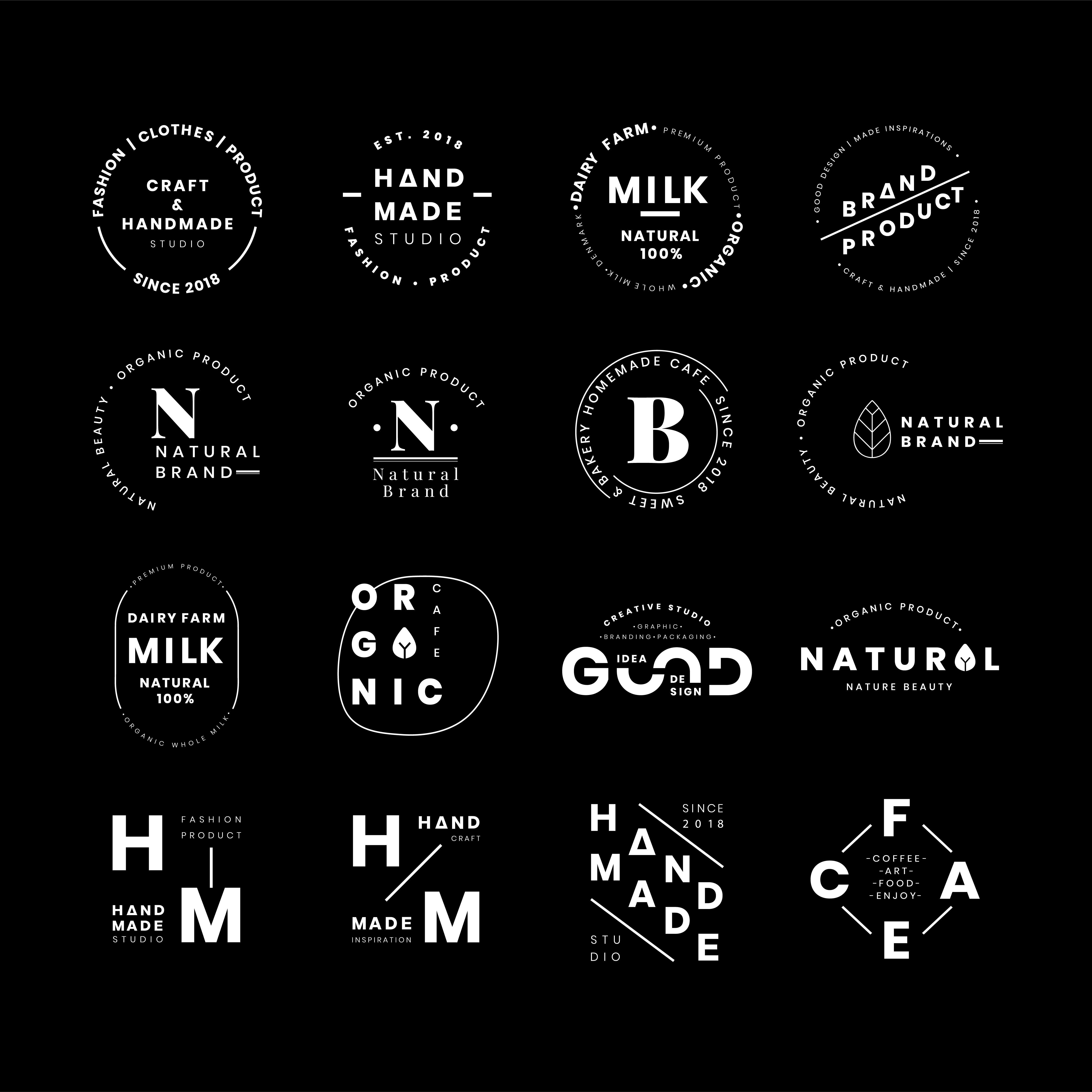 Natural Brand Logo Badge Design:  Brand Logo Badges Vector Set