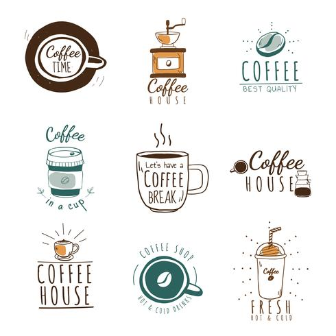 Set av kaféer logotyper vektor