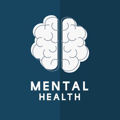 Geestelijke gezondheid met hersenen pictogram vector