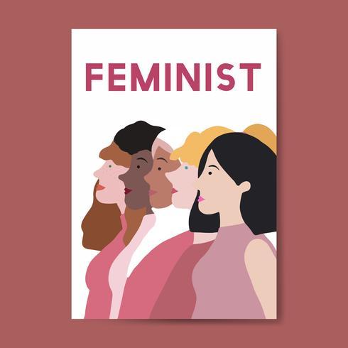Vrouwelijke feministen die zich vector verenigen