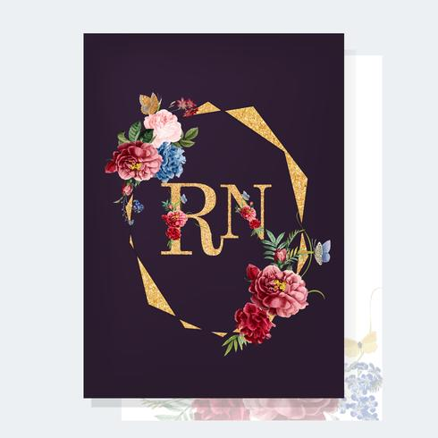 Ilustração de maquete de cartão de convite floral