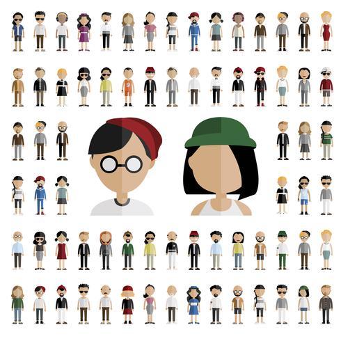 Set med olika avatar karaktär illustration