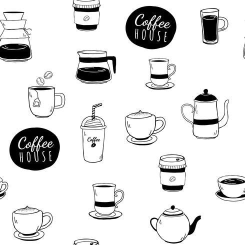 Koffiehuis en koffie gevormde achtergrondvector