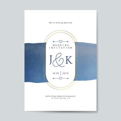 Blått bröllop inbjudningskort vektor
