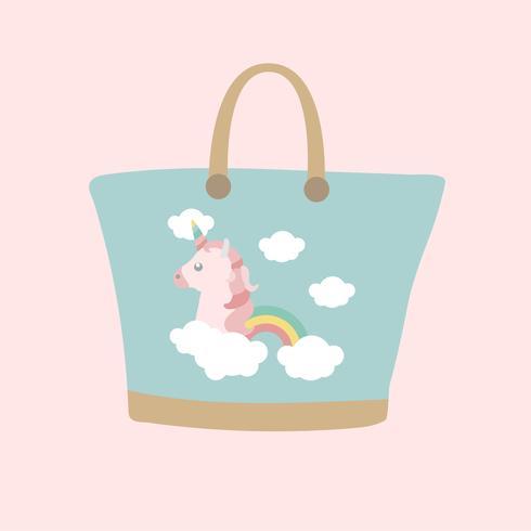 Simple illustration of a unicorn bag