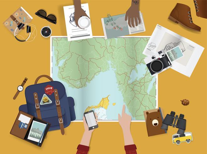 Ilustración de la planificación de un viaje.