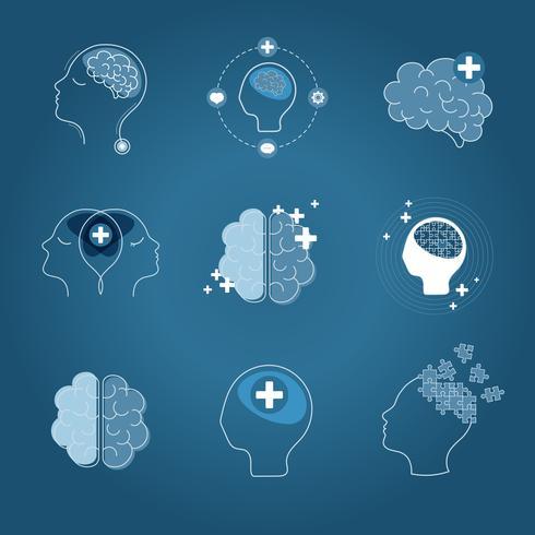 Cérebro e saúde mental ícones vector set