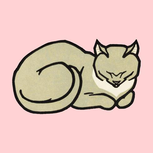 Sova katt (1918) av Julie de Graag (1877-1924). Original från Rijksmuseet. Digitalt förbättrad av rawpixel.