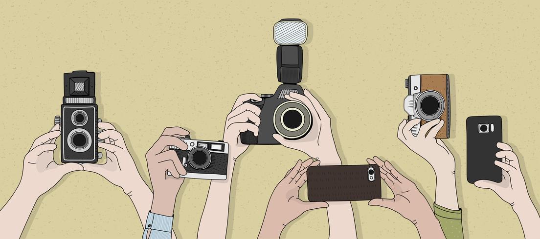 Vecteur, mains, prendre, photos