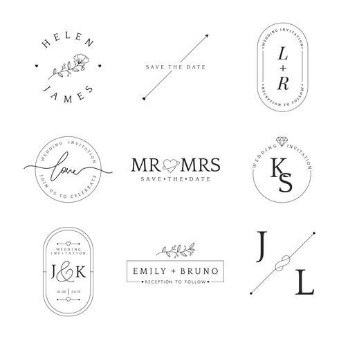 Set med bröllopsinbjudan emblem design vektor