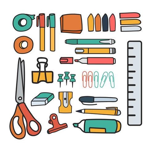 Insieme di vettore di stile di doodle di articoli di cancelleria