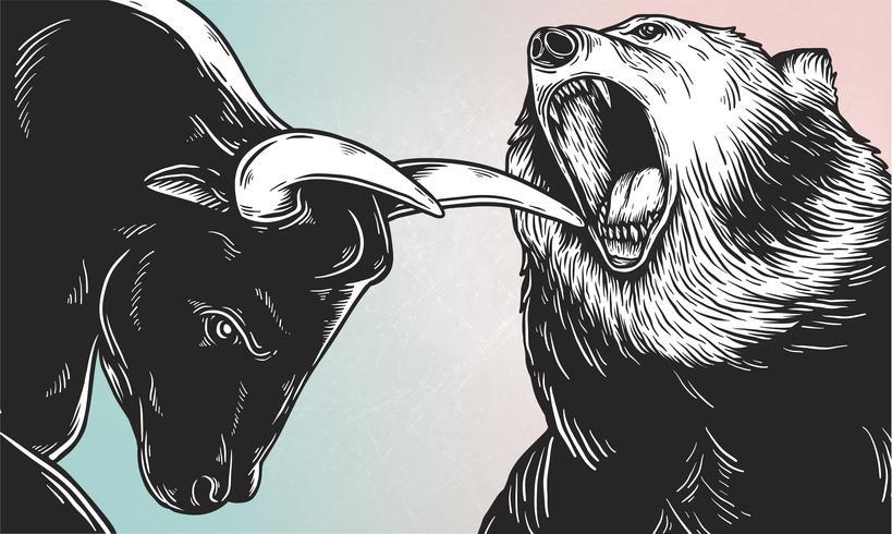 Um touro e um urso lutando vetor de estilo cômico