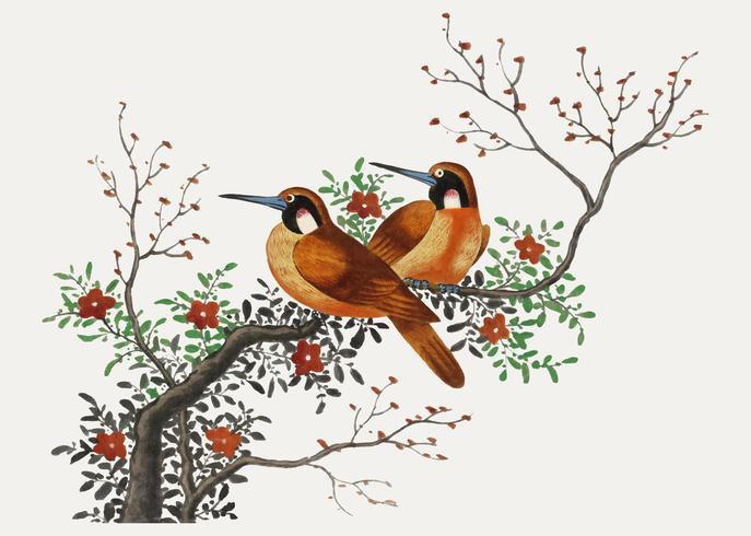 Kinesisk målning med två fåglar på en blommande trädgren.