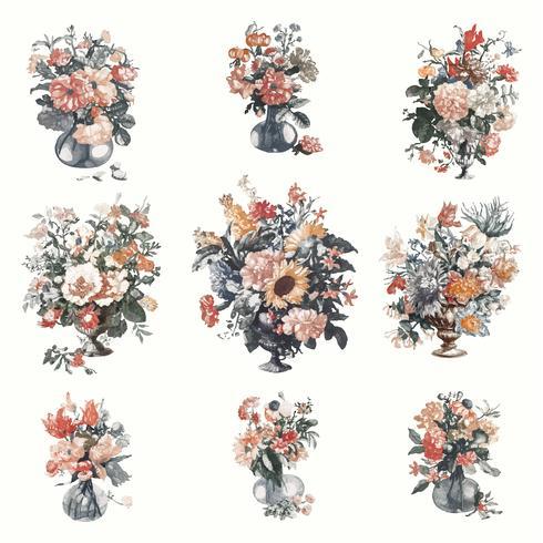 Vintage illustration av uppsättning vaser med blommor
