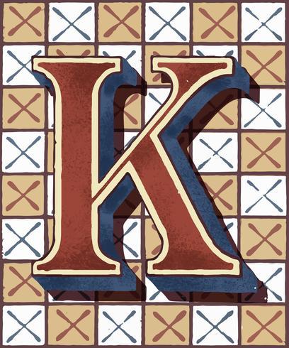Hoofdletter K vintage typografie stijl
