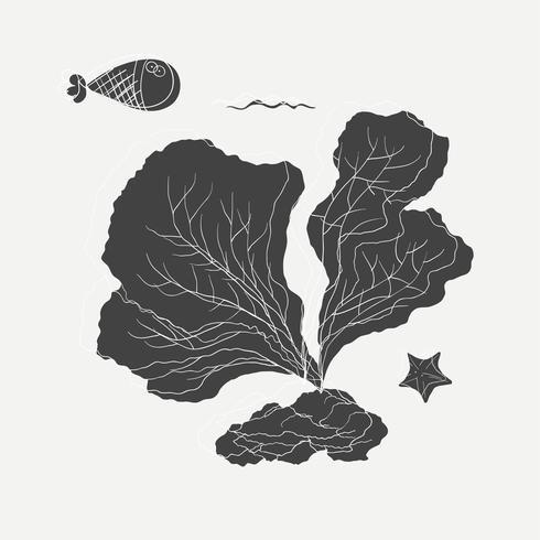 Tecknadritning av havsplantor och fiskar