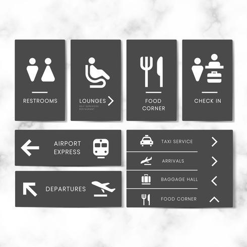 Airport signe icon set vector