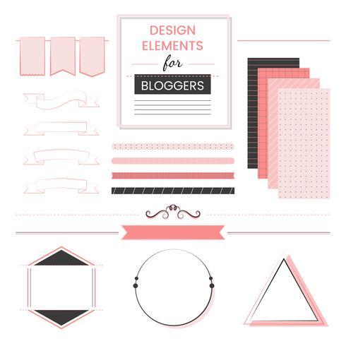 Sats av designelement för bloggare vektor