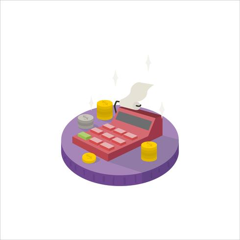 Illustration of a cash register and coins icon