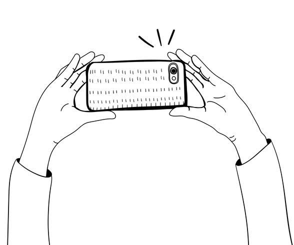 Vecteur, mains, prendre photo, à, smartphone