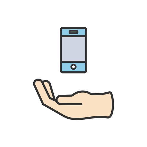 Ilustração, de, telefone móvel, ícone