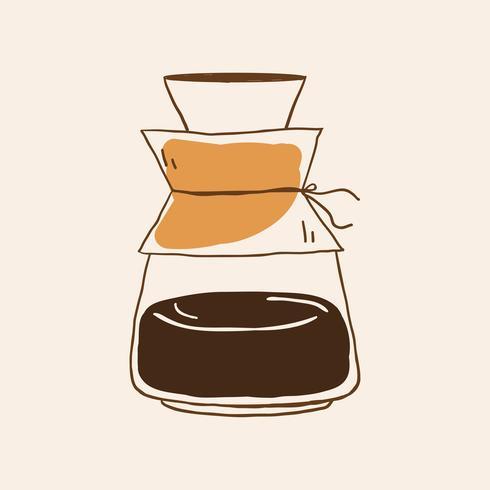 Drip coffee pot icon vector