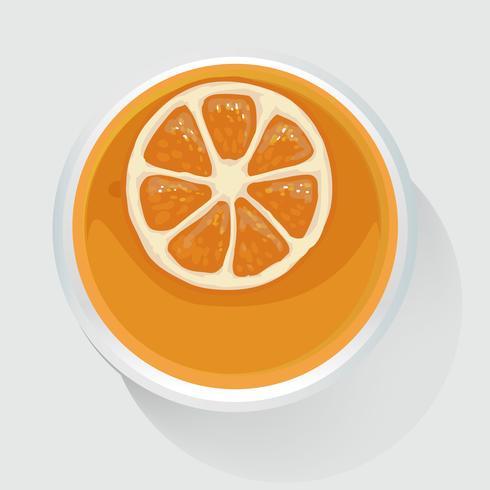 Vista superior de ilustración vectorial de jugo de naranja