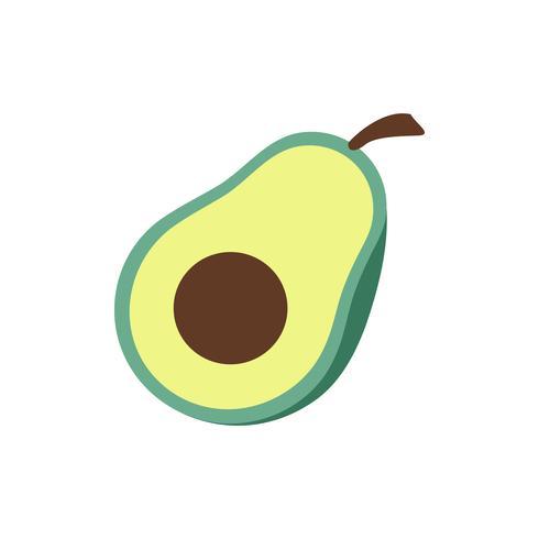 Avocado geschnitten zur Hälfte lokalisierte grafische Illustration