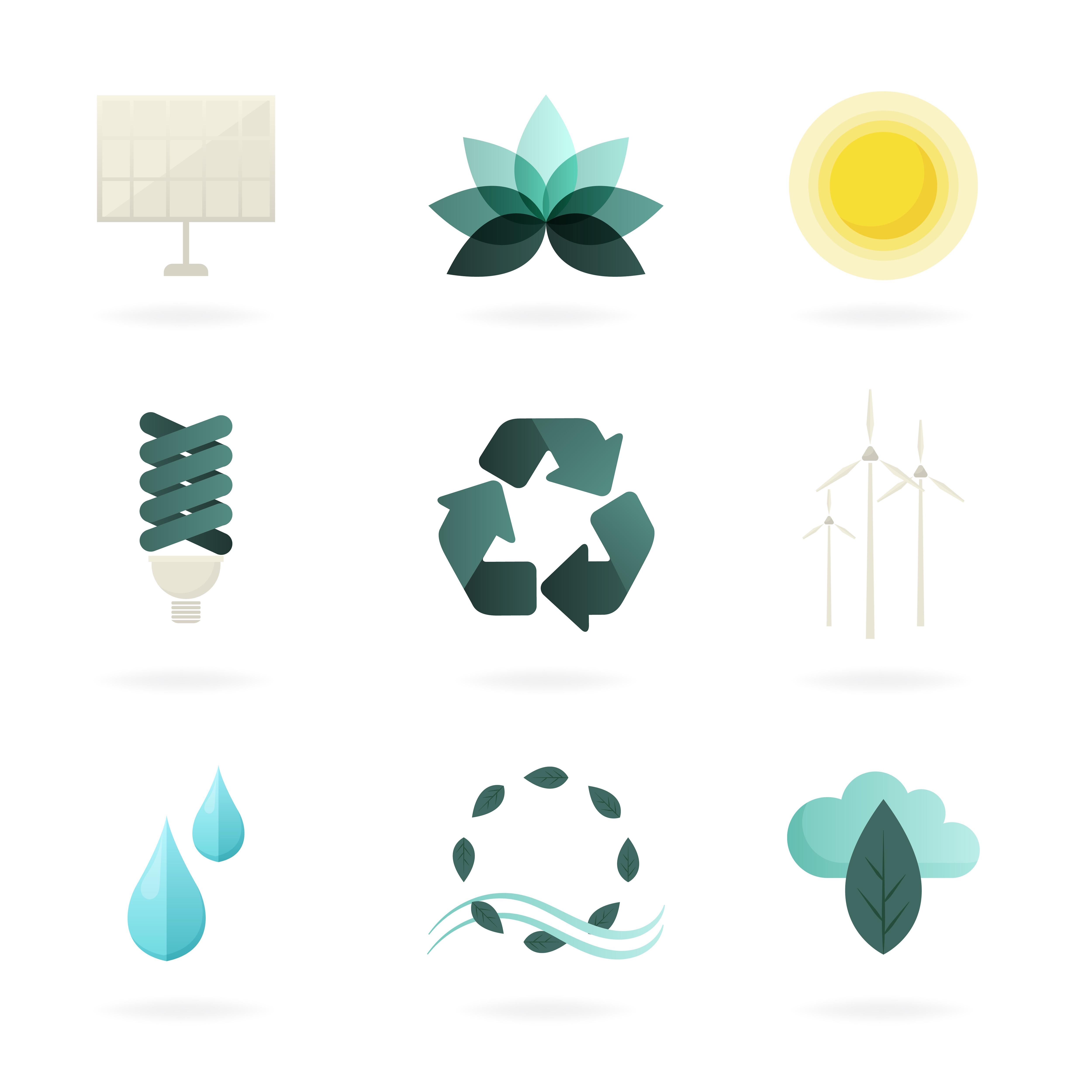 Alternative Energy Symbols Set Vector