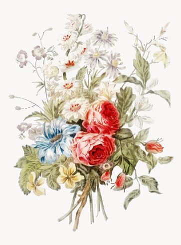 Vintage illustratie van boeket bloemen