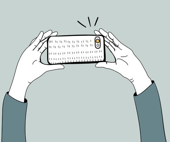 Vettore di mani che catturano foto con lo smartphone